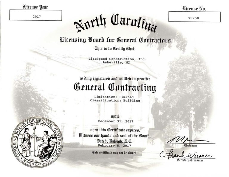LiteSpeed North-Carolina-General-Contracting-License