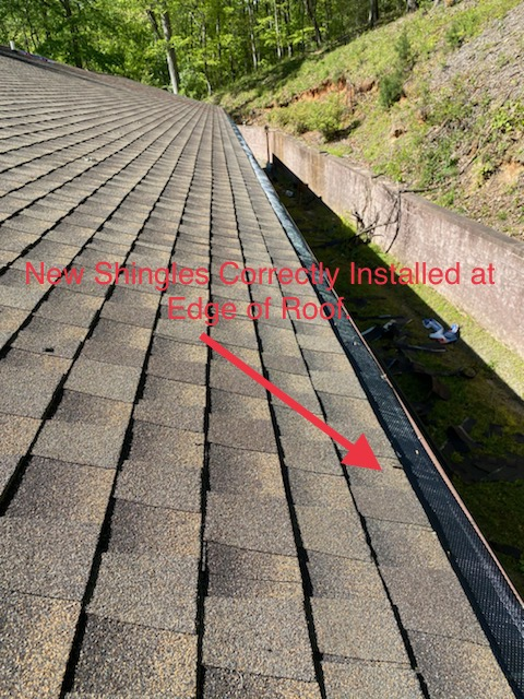 The proper installation of shingles at the edge of the roof.